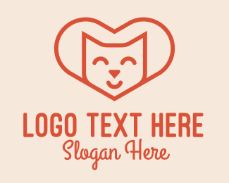 Siamese Cat - Heart Cat Love logo design