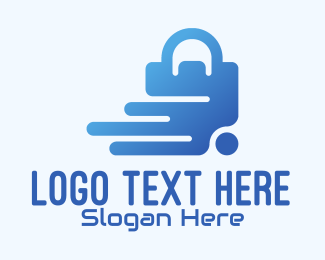 Tech Store - Blue Online Shopping Bag logo design