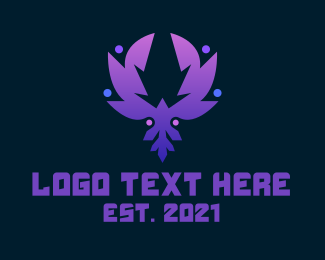 Mythological - Modern Purple Phoenix logo design