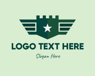 Infantry - Green Military Shield Badge logo design