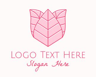 Beauty Brand - Pink Rose Line Art logo design