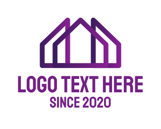 Residential Construction - Purple House logo design