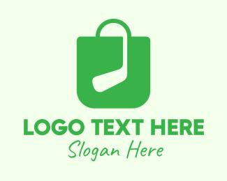 Sport Equipment - Green Golf Shopping Bag logo design