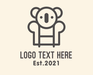 Red Chair - Koala Sofa Chair logo design