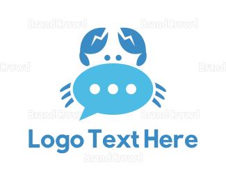Social - Blue Crab Chat logo design