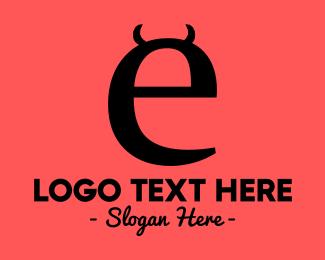 Bad - Evil Letter E logo design