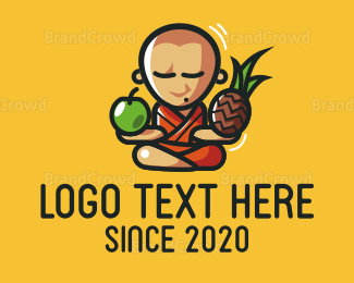 Buddhism - Fruit Monk logo design