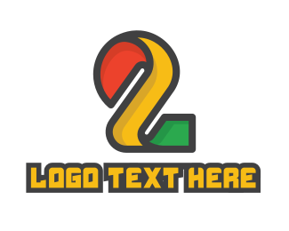 Number 2 - Colorful Number 2 Tech logo design