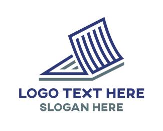 Folder - Open Blue File logo design