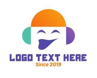 Emoticon - Smiling Media Face logo design