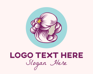 Facial Care - Curly Hair Woman logo design