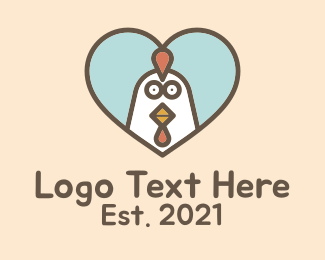 Poultry - Chicken Poultry Heart logo design