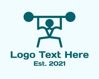 Sports - Monoline Weight Lifter logo design