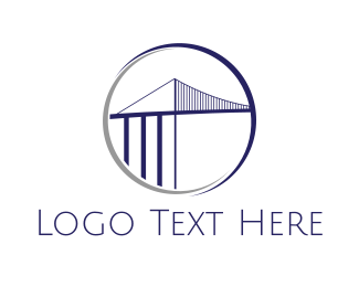 Detroit - Ambassador Bridge Circle logo design