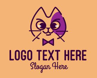 Cat Food - Cat Bow Tie  logo design