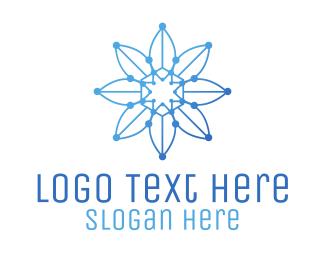 Flora - Blue Gradient Outline Flower logo design