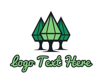 Forest - Diamond Trees logo design