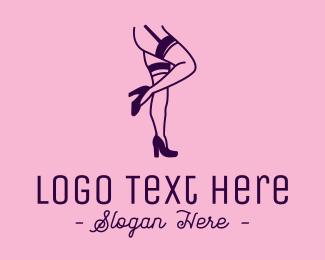 Legs - Pink Sexy Lingerie Legs logo design