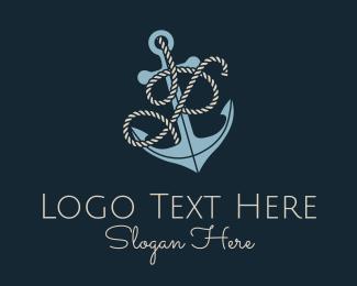 P - Anchor Rope Letter P logo design