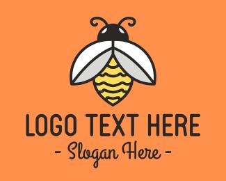 Orange Bee - Honey Bee Insect logo design