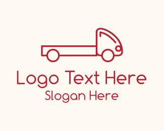 Shipping Service - Monoline Pickup Truck logo design