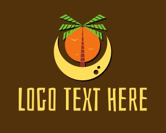 Coconut Tree - Palm Tree Beach Moon logo design