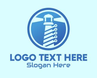 Tech Support - Modern Digital Lighthouse logo design