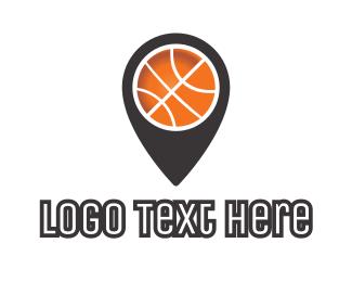 Court - Black Basketball Pin logo design