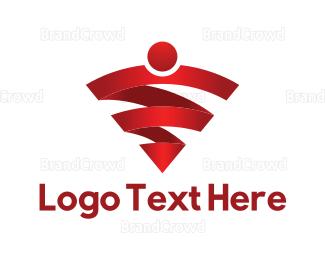 Vpn - Red Wifi logo design