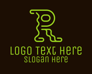 Lounge - Neon Light Letter R logo design