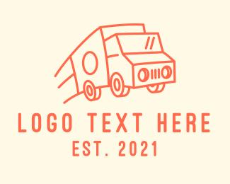 Truck - Orange Delivery Truck logo design