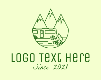 Recreational Vehicle - Green RV Camping  logo design