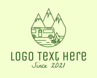 Exploration - Camping Mountain Peaks logo design