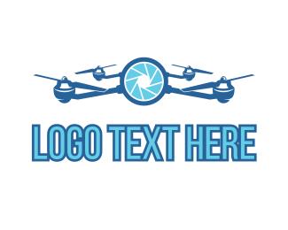Quadcopter - Blue Drone Camera logo design
