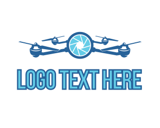 Drone - Blue Drone Camera logo design