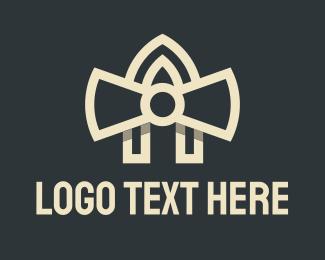 A - White Ribbon Letter A logo design