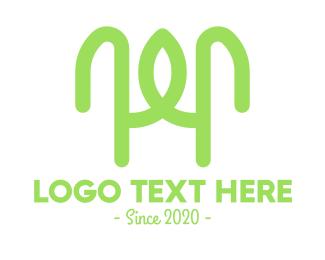 Hybrid - Organic Green Letter H logo design