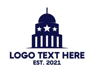 Politician - Blue Capitol Building logo design