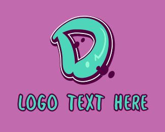 Mural - Modern Graffiti Letter D logo design