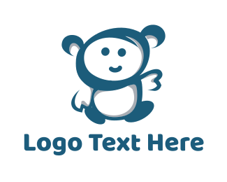 Little - Blue Little Monkey logo design