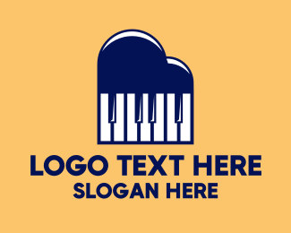 Piano - Cloud Piano Keys logo design