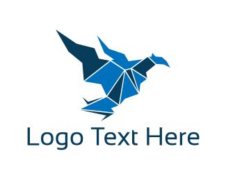 Red Bird - Origami Bird logo design
