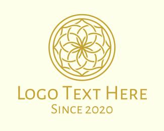 Hinduism - Golden Mandala Flower Pattern logo design