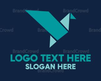 Bird - Origami Blue Bird logo design