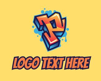 Panel Beater - Street Art Letter P  logo design