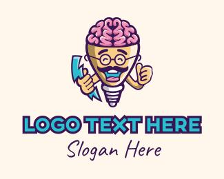 Thinking - Genius Electrician Mascot logo design