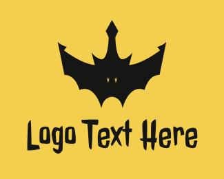 Dark - Black Bat Crown logo design