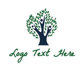 Family - Blue Family Tree logo design