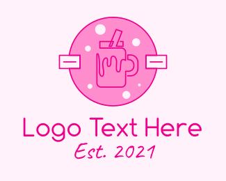 Milkshake - Pink Milkshake Badge logo design