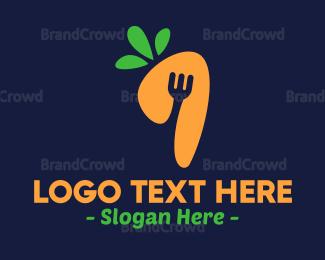 Carrot - Modern Fork Carrot logo design